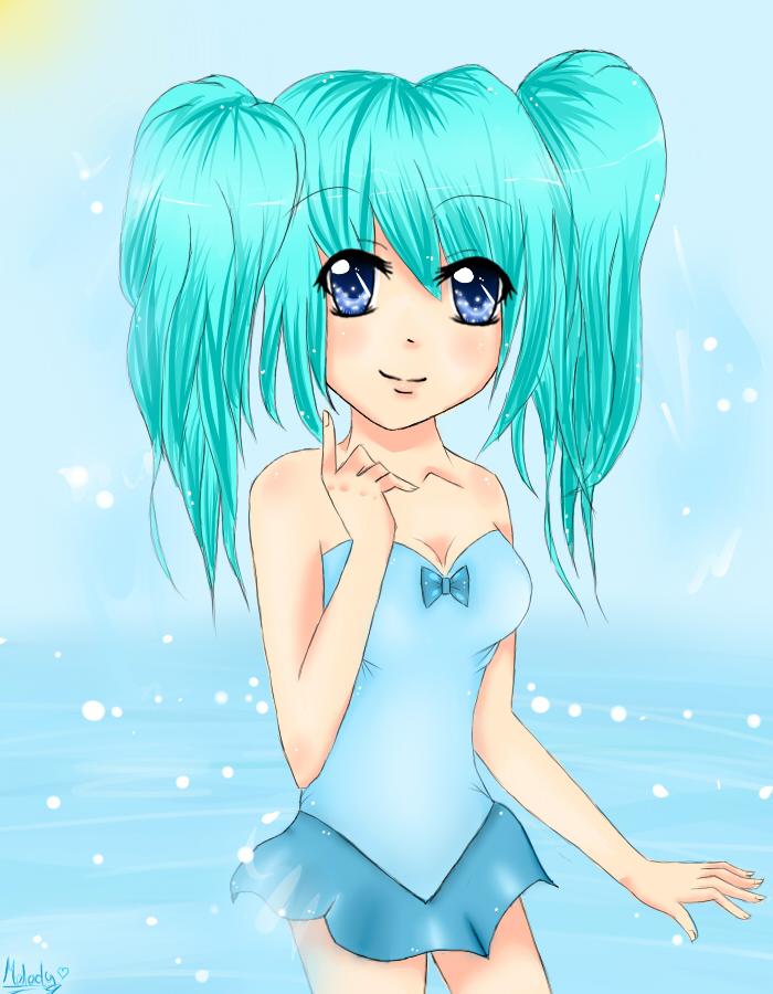 Aqua Anime Girl By Nucularjello On Deviantart