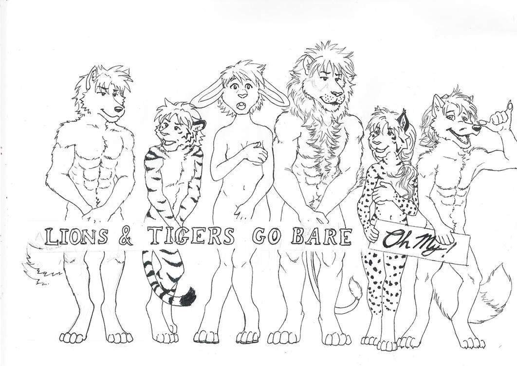 Lion And Tigers Go Bare: BW by RuntyTiger