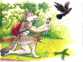 Brother Wolf and Brother Crow: Goodbye by RuntyTiger