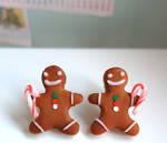 Gingerbread Men earrings in Christmas Peppermint