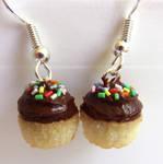 Chocolate Iced Cupcake Earrings