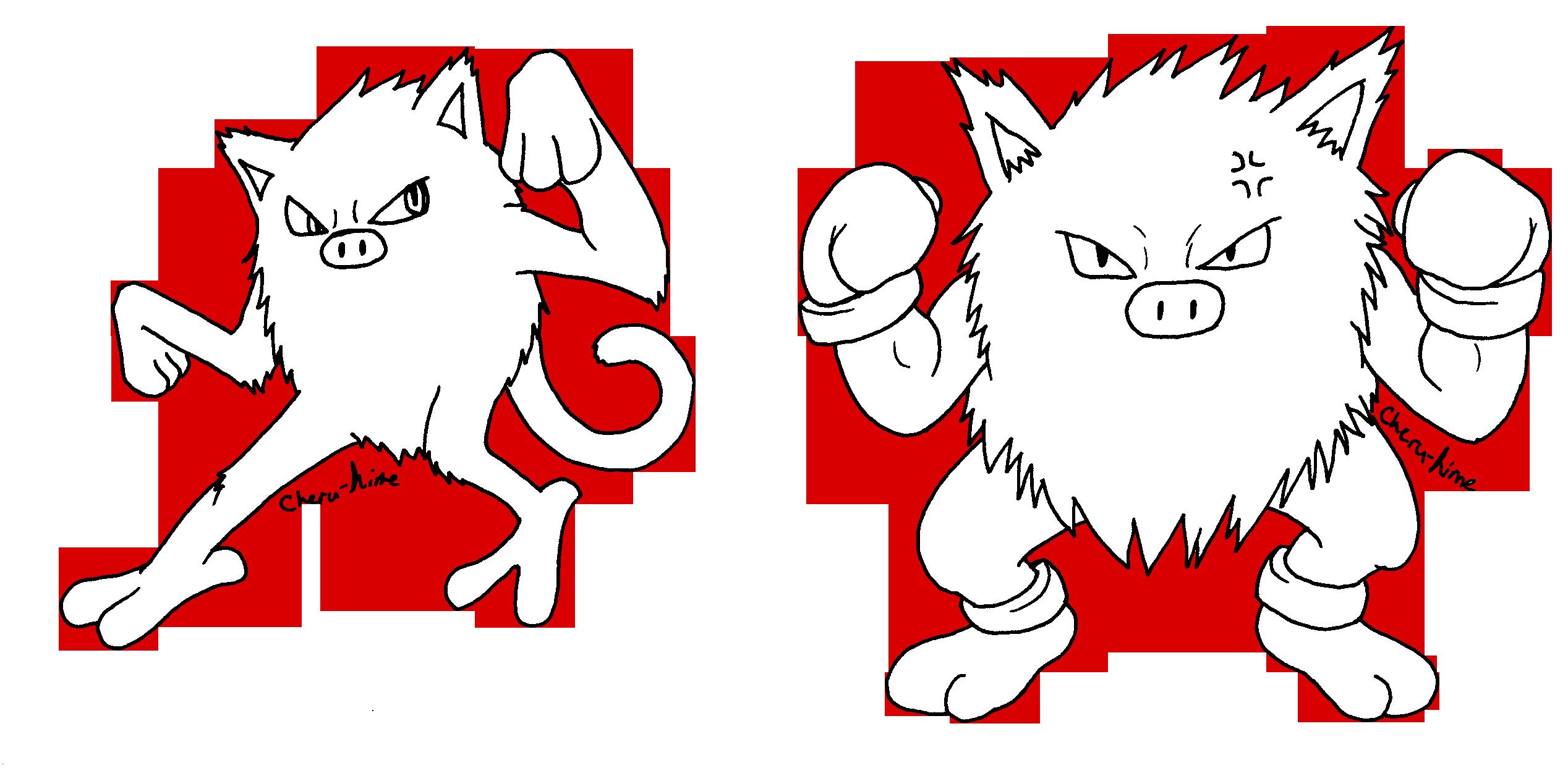 Pokemon lineart: MANKEY PRIMAPE by Cheru-Hime on DeviantArt