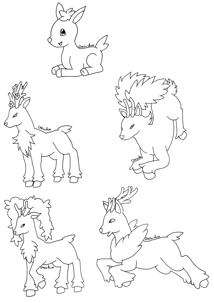 Pokemon lineart deerling sawsbuck by cherucheripie on for Deerling coloring pages