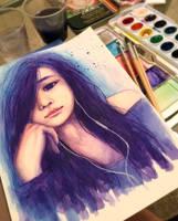 Watercolor Self Portrait by unextii