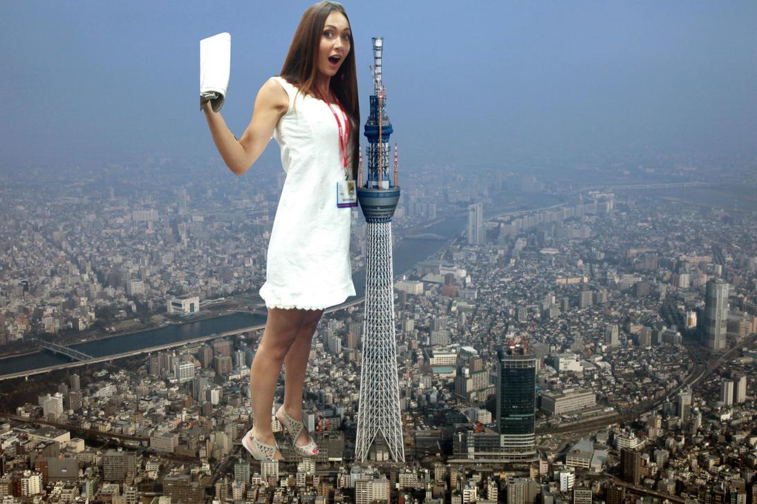 Giantess Jessica Chobot in Japan by ilikemercs