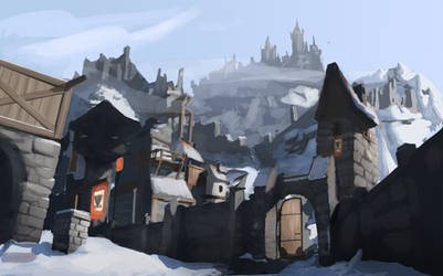 Snowy Mountain Town by AlexKuhn