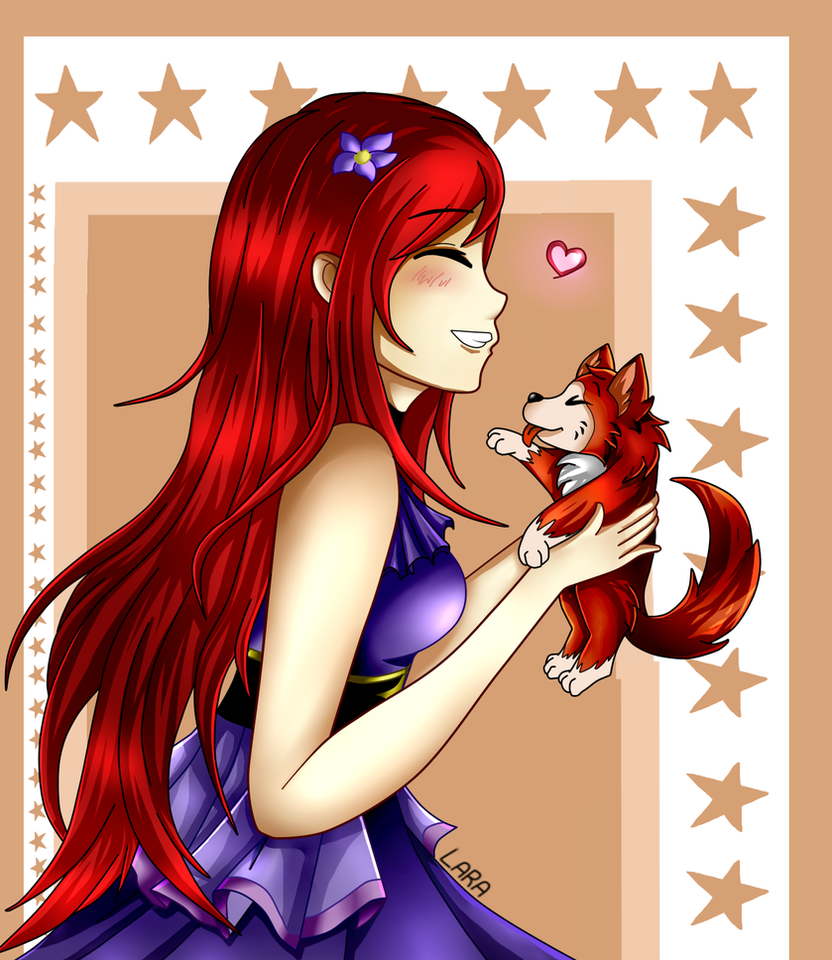 ~ Mizuki with a little puppy ~ by LarraLy
