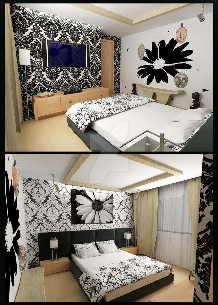 Black And White Modern Bedroom By Papershiver On Deviantart