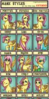 24 Mane Styles For Fluttershy by PandorasJukebox