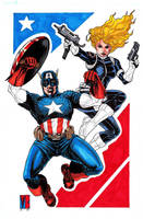 Capn America and Sharon Carter by montrosity