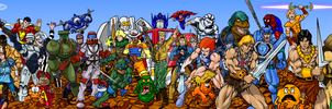 80s Cartoon Heroes Wallpaper/Banner