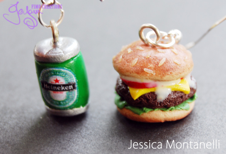 Hamburger and Beer - Earrings by Jeyam-PClay