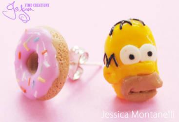 Homer and Donut - Earrings