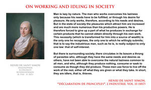 Henri de Saint-Simon - on working and idling