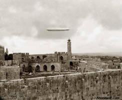 Graf Zeppelin flying over Jerusalem, 1929 by YamaLlama1986