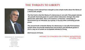 Franklin D Roosevelt - the threats to liberty by YamaLlama1986