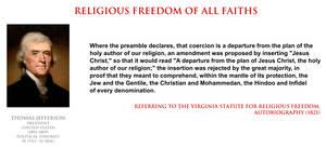 Thomas Jefferson - religious freedom of all faiths