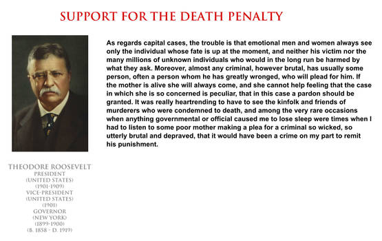 Theodore Roosevelt - support for the death penalty