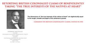 Herbert Macaulay - claims of colonial benevolence