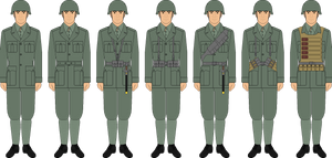 Italian soldier M40 grey-green template examples