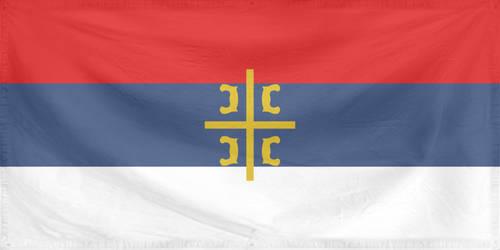 Rippled Flag Serbian Orthodox Church 1 by 2 size by YamaLlama1986