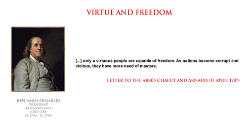 Benjamin Franklin - virtue and freedom by YamaLlama1986