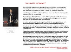 Neville Chamberlain - war with Germany