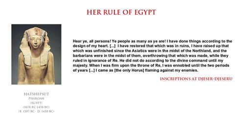 Hatsheput - her rule of Egypt