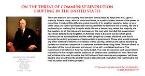 Woodrow Wilson - threat of communist revolution