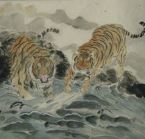 Tigers by the lake