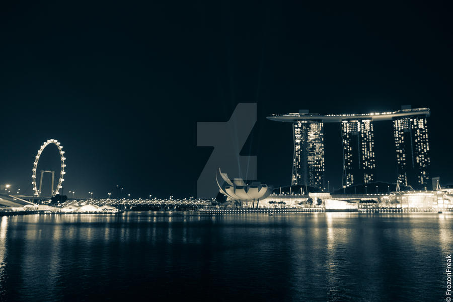 Marina Bay Skyline by frozonfreak