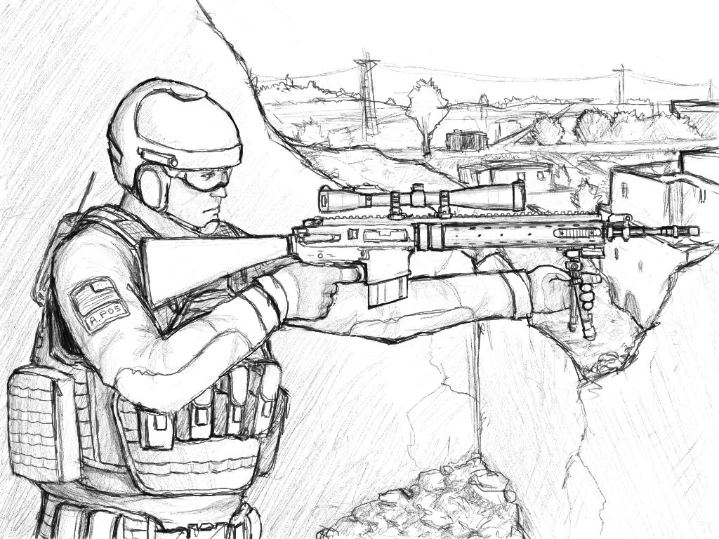 how to draw a sniper soldier