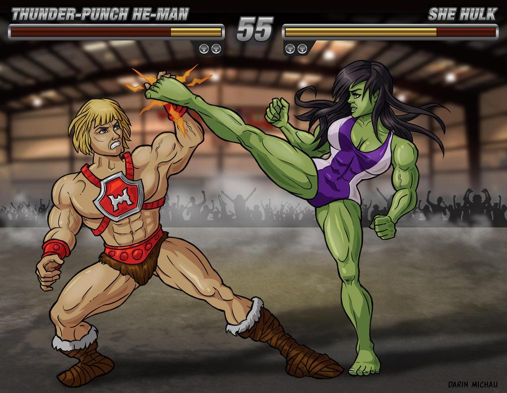 She-Hulk vs He-Man by Area-44