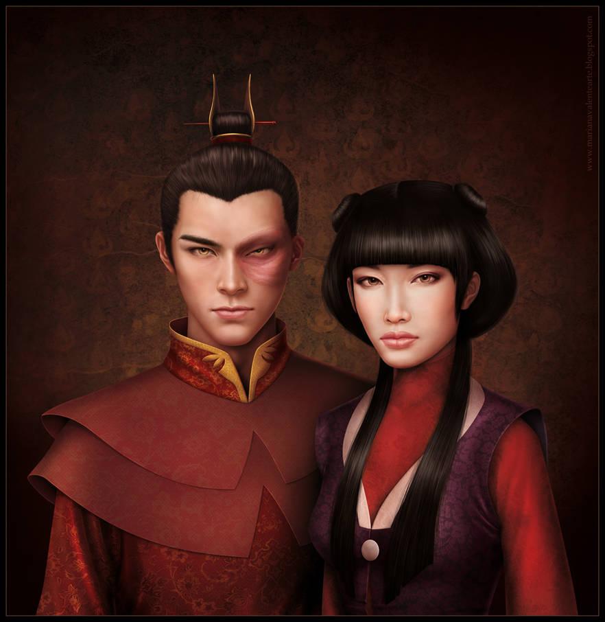 Portrait of Zuko and Mai by missbennet