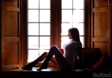 mallory, window, t-shirt by scottchurch