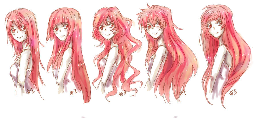 anime female hairstyles drawing reference