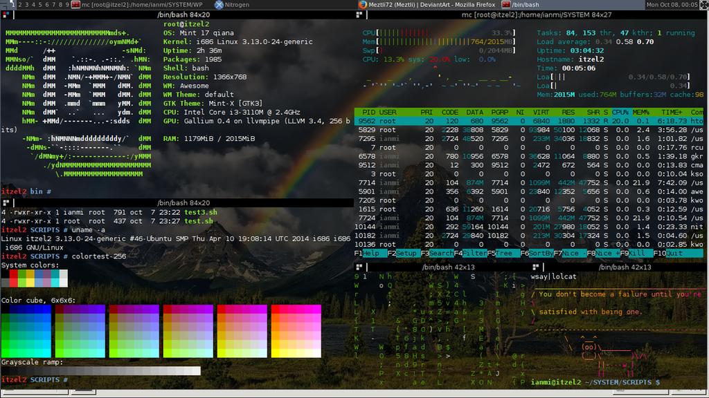 GNU/Linux Screenshot (Linux Mint Qiana) [Rainbow] by Meztli72