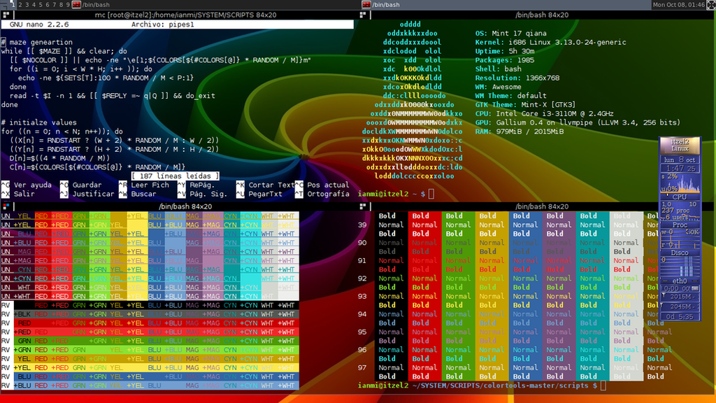 GNU/Linux Screenshot (Linux Mint Qiana) [Colors] by Meztli72