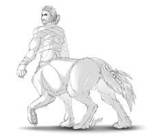 WolfTaur - sketch commission 1 by Lizkay