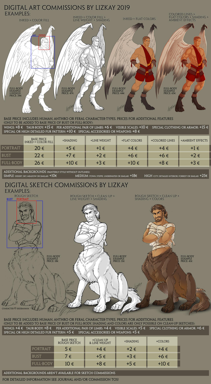 Digital Art + Sketch Commission PriceList by Lizkay