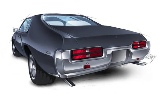 69' Pontiac GTO - colored sketch rear view