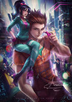 Ralph and older Vanellope by Axsens