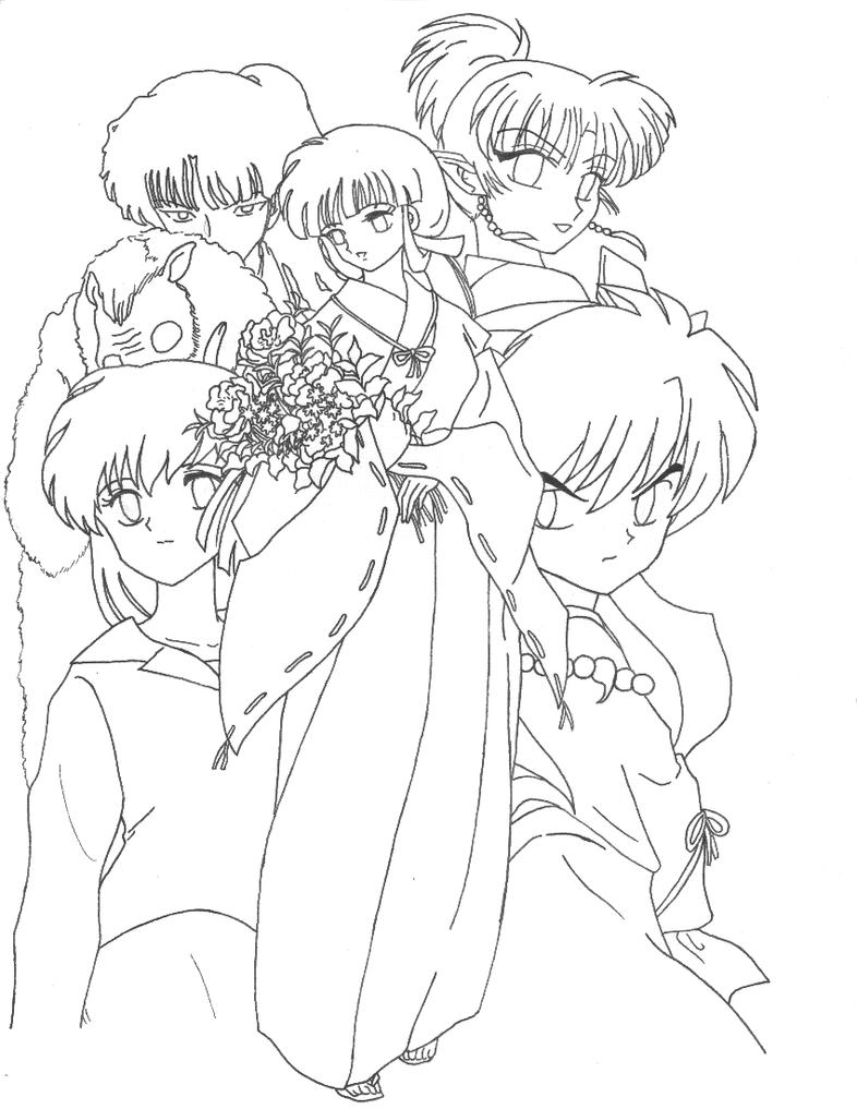 inuyasha group lineart by aiookami on deviantart
