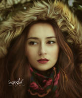 Winter Portrait in Smudge Painting by MazzAank