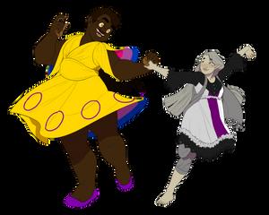 Two Girls Walkin' in a Pride Parade