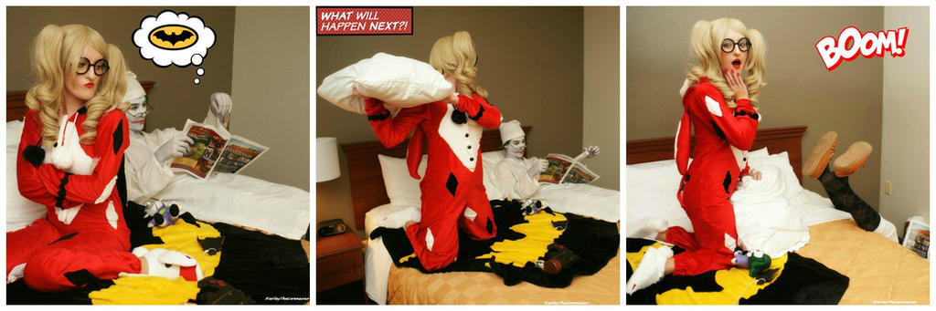Harley Quinn and Joker: Pillow Fight by HarleyTheSirenxoxo