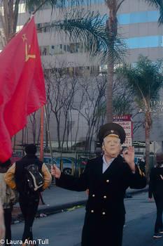 Trump Imitator with Russian Flag