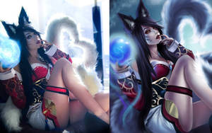 Ahri cosplay and drawing side-by-side by Toniji-Arts