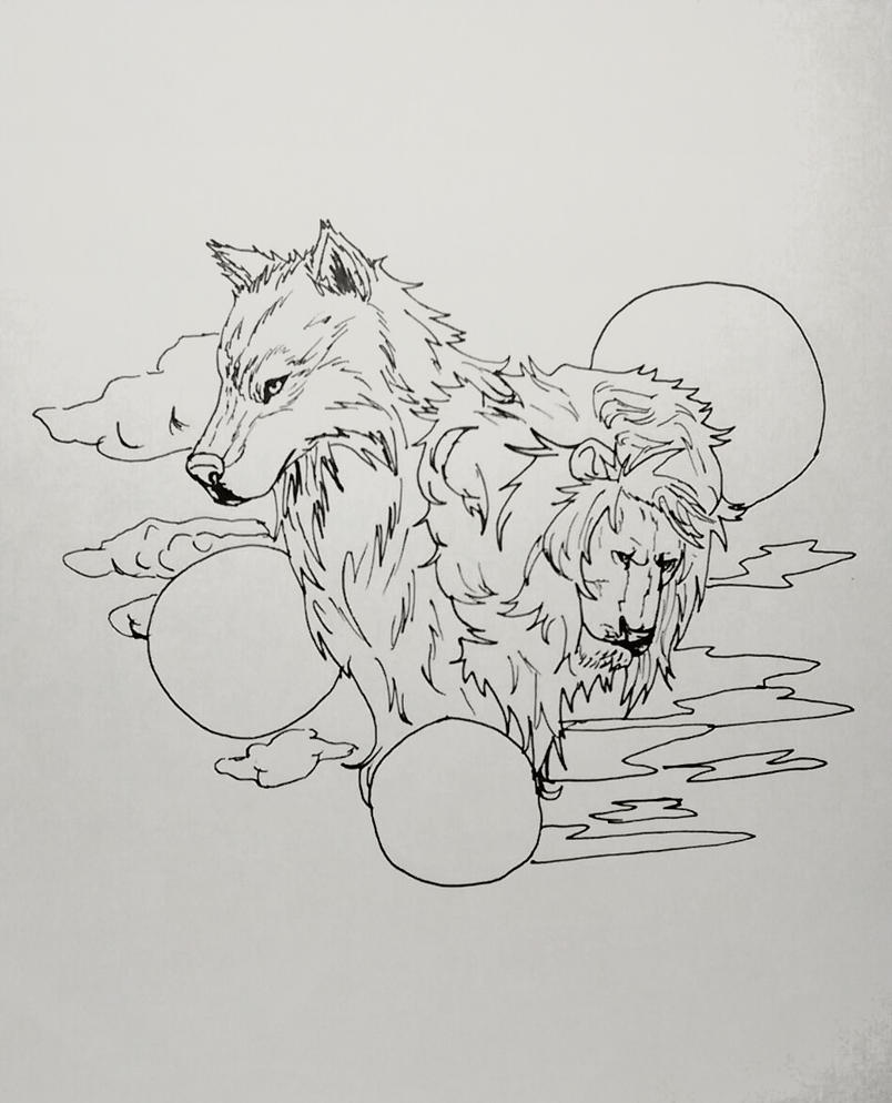 Sketch - Lion And Wolf By Crisos-bdj On DeviantArt