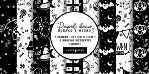 Papel Deco Blanco Y Negro | Halloween
